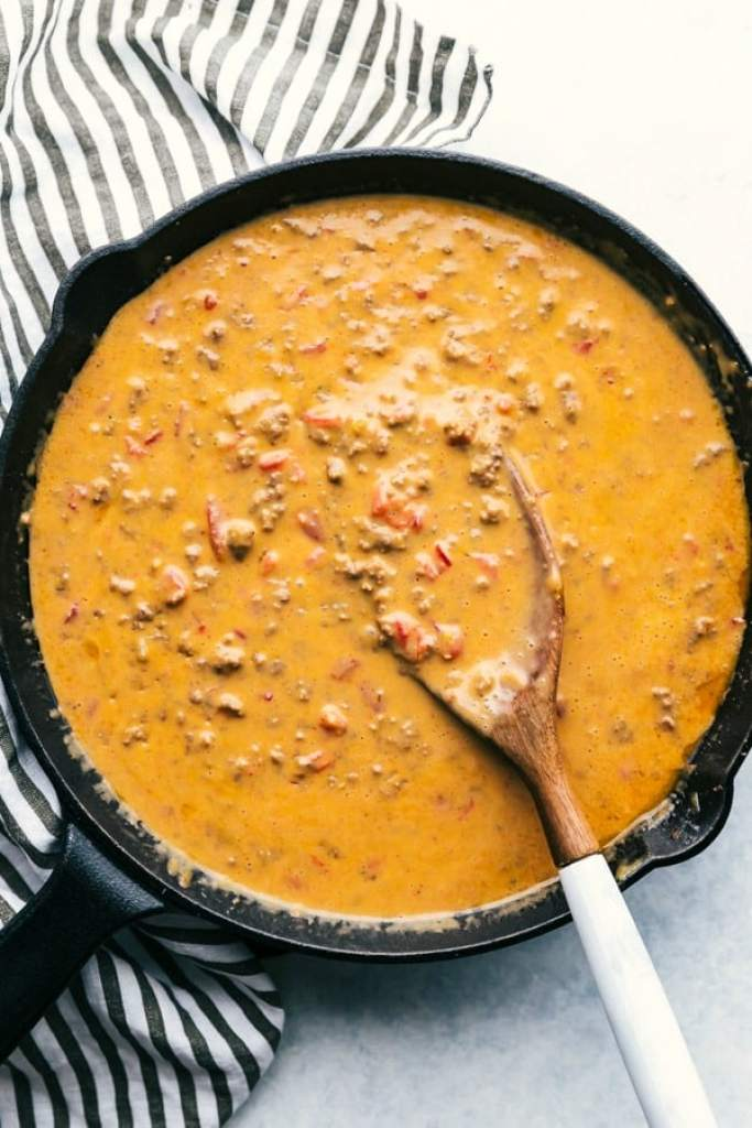 Beef Queso in skillet