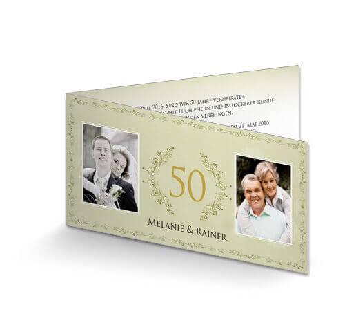 Einladung Zur Goldenen Hochzeit Vintage Grün