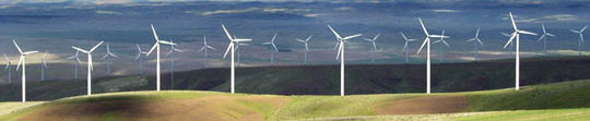 wind power generated on a wind farm with numerous wind turbines