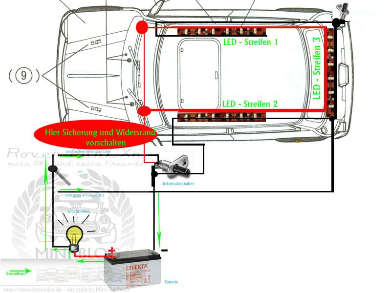 Rover Mini Xn Türtaschen-LED Schaltung