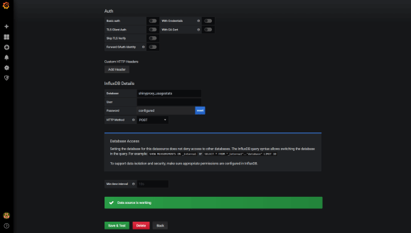 Grafana Database Settings Completed