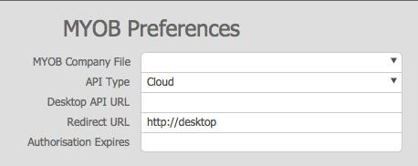 MYOB Preferences Cloud