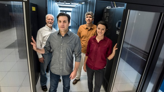 A data center efficiency study by Berkeley Lab research scientist Arman Shehabi (2nd from left) and his colleagues showed some surprising results.