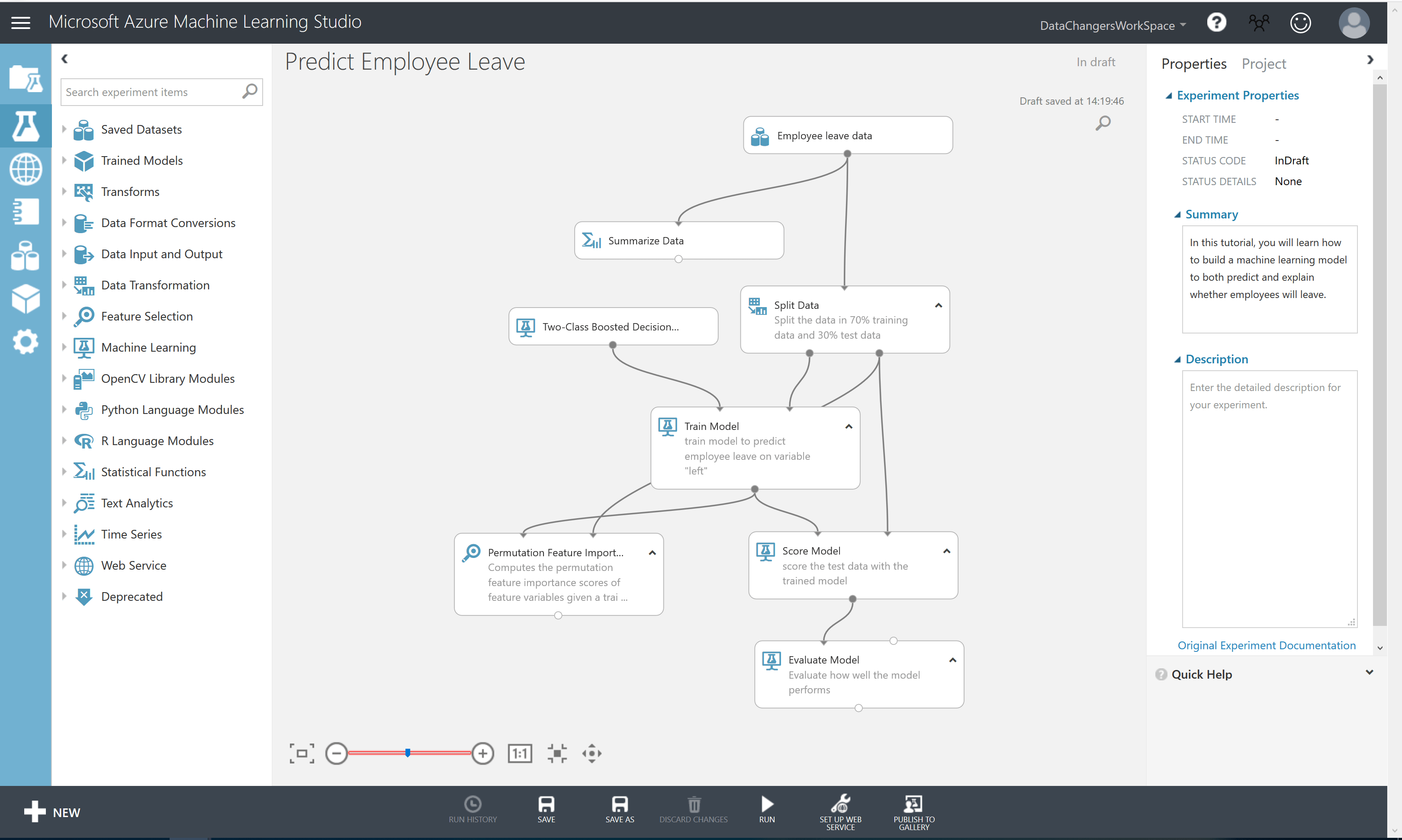 Predict employee leave - Build with Azure Machine Learning Studio