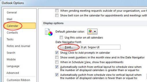 Change Date Navigator Font