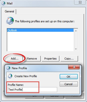Add New Outlook Profile
