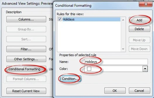 Highlight Holidays via Conditional Formatting