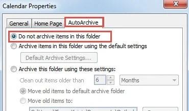 Stop Archiving the Entire Calendar Folder