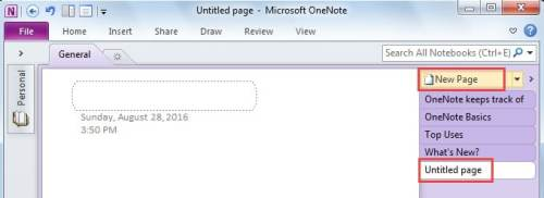 Create a New Page in MS OneNote