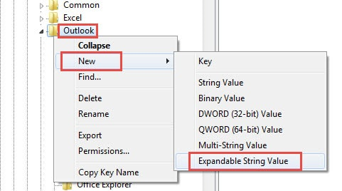 Create an expandable string value under Outlook