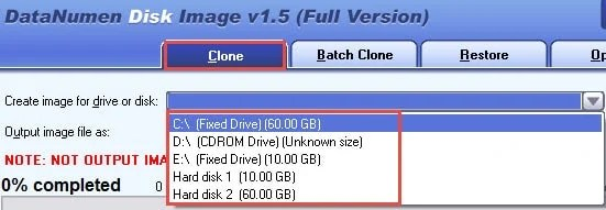 Select the target disk or drive