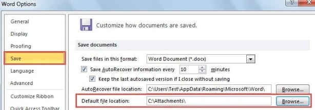 Default File Location in MS Word