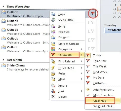 Remove the Flags of Outlook Email Individually