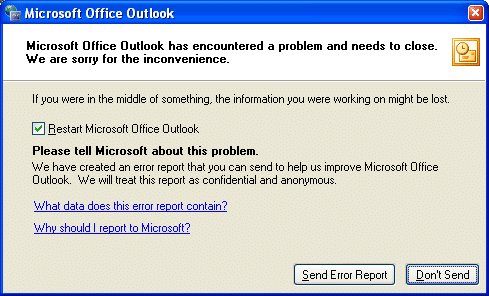"""Error message: """"Microsoft Office Outlook has encountered a problem and needs to close"""""""