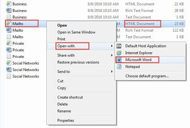 Open HTML File with MS Word