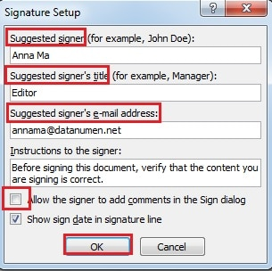 how to add signature in excel 2003