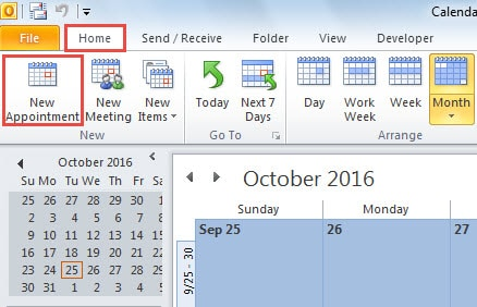 Create a New Outlook Appointment