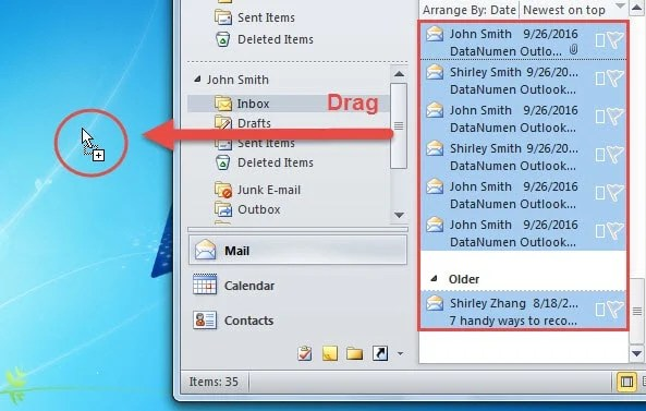 Drag and Drop Emails to Desktop