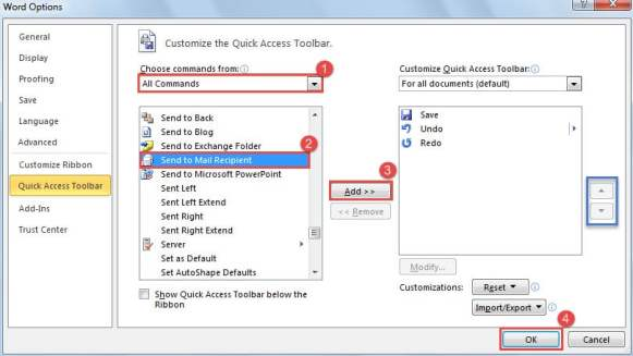 """Enable """"Send to Mail Recipient"""" Feature in Word"""