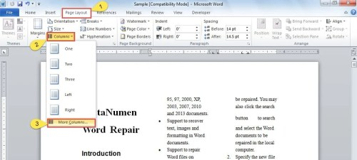 how to make word document 2 columns in 1 page