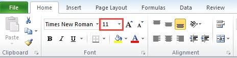 how to set default font excel