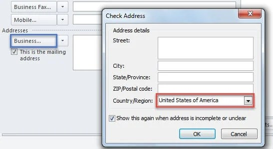 New Default Country for Addresses