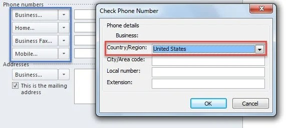 New Default Country for Phone Numbers