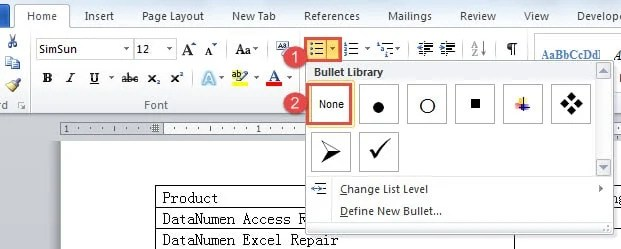 """Click """"Bullets"""" ->Choose """"None"""" in """"Bullet Library"""""""