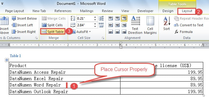"Place Cursor Properly ->Click ""Layout"" ->Click ""Split Table"""