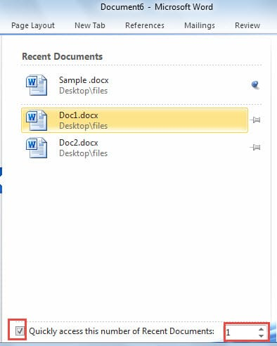 how to clear recent documents on word