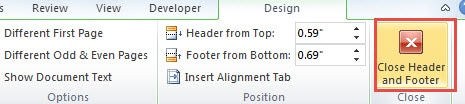 how to make different footers in word 2016