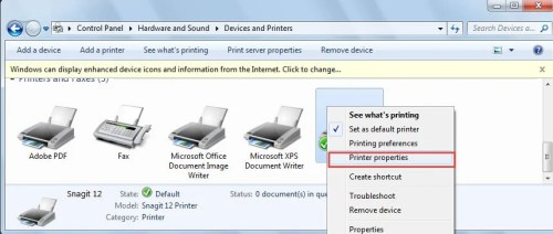 Click Printer Properties On