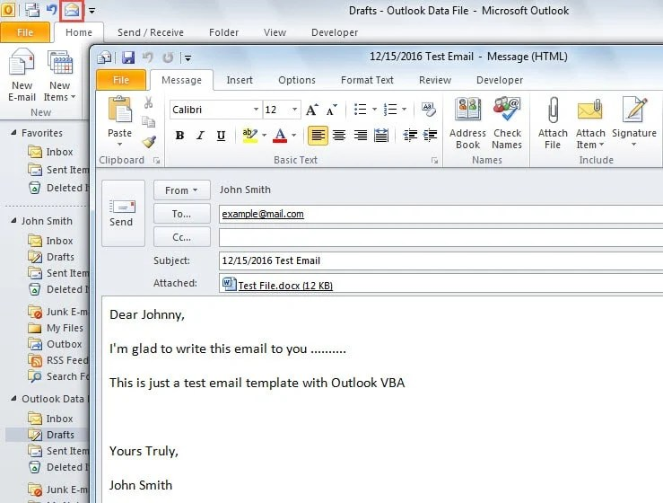 email message template