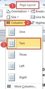 """Click """"Page Setup"""" ->Click """"Columns"""" ->Click """"Two"""""""
