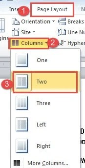how to create two collumns of text in word