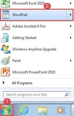 "Click ""Start"" ->Click ""WordPad"""