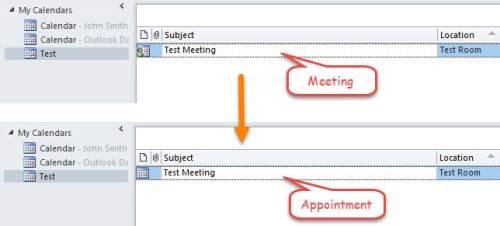 Convert the Selected Meeting to an Appointment