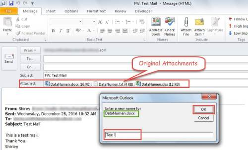 Enter New Names for the Attachments in Forwarding Email