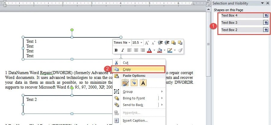 """Select All Text Boxes ->Right Click on One of the Box Line ->Choose """"Copy"""""""