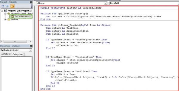 VBA Codes - Auto Print Tasks or Meetings As They Arrive in Your Outlook Mailbox