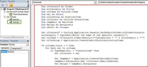 VBA Codes - Create a New Contact Group from Contacts in a Specific Category