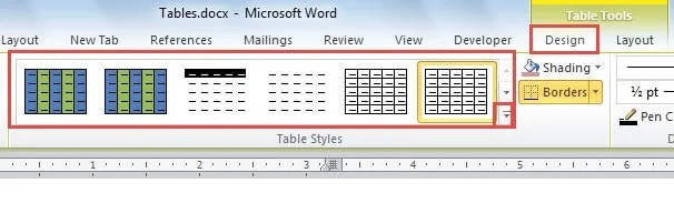 "Click ""Design""->Choose a Table Style"