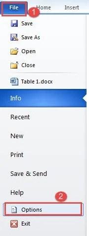 """Click """"File""""->Click """"Options"""""""
