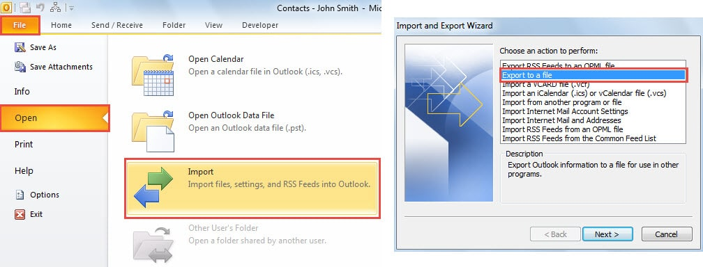 Outlook Contacts File