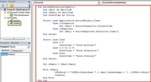 VBA Codes - Auto Add Greetings to Reply Messages