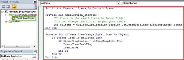 VBA Codes - Auto Clear the Flags When Marking Follow-Up Emails as Complete