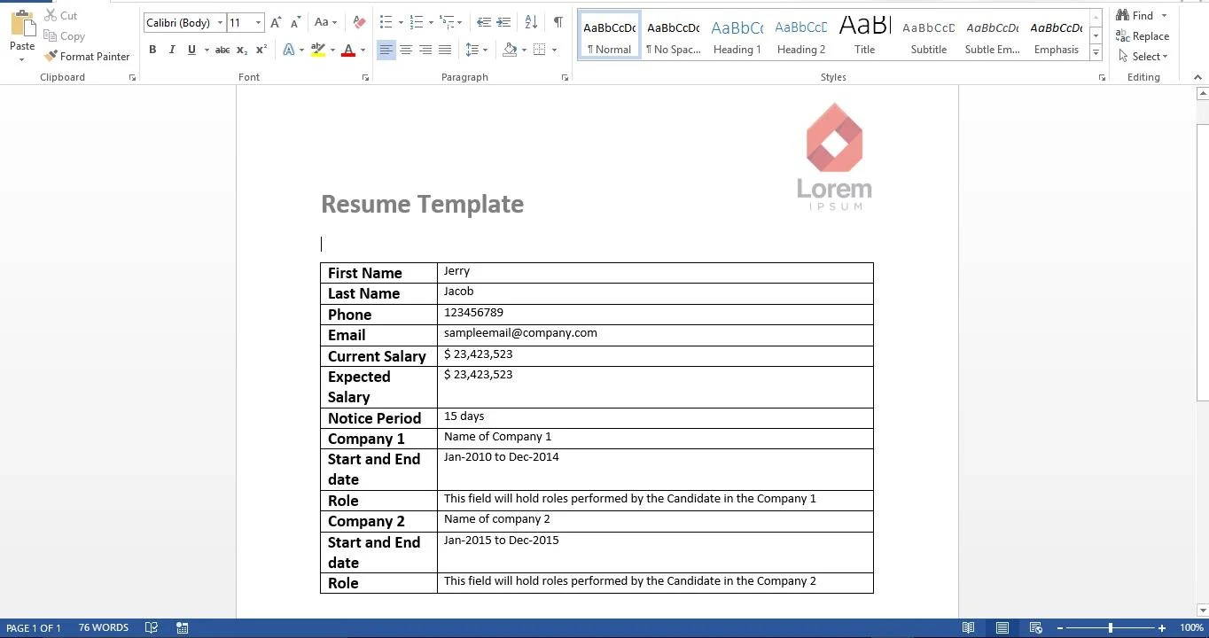 ... Sample Resume Template