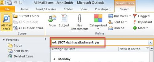 Find Email Attachments Not with Specific File Types