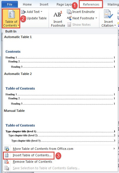 3 Ways To Quickly Insert A Table Of Contents Into Your Word