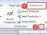 """Click """"References""""->Click the Button"""